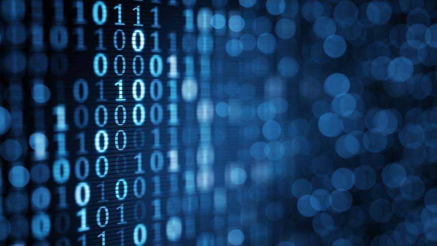 blue digital binary data on computer screen