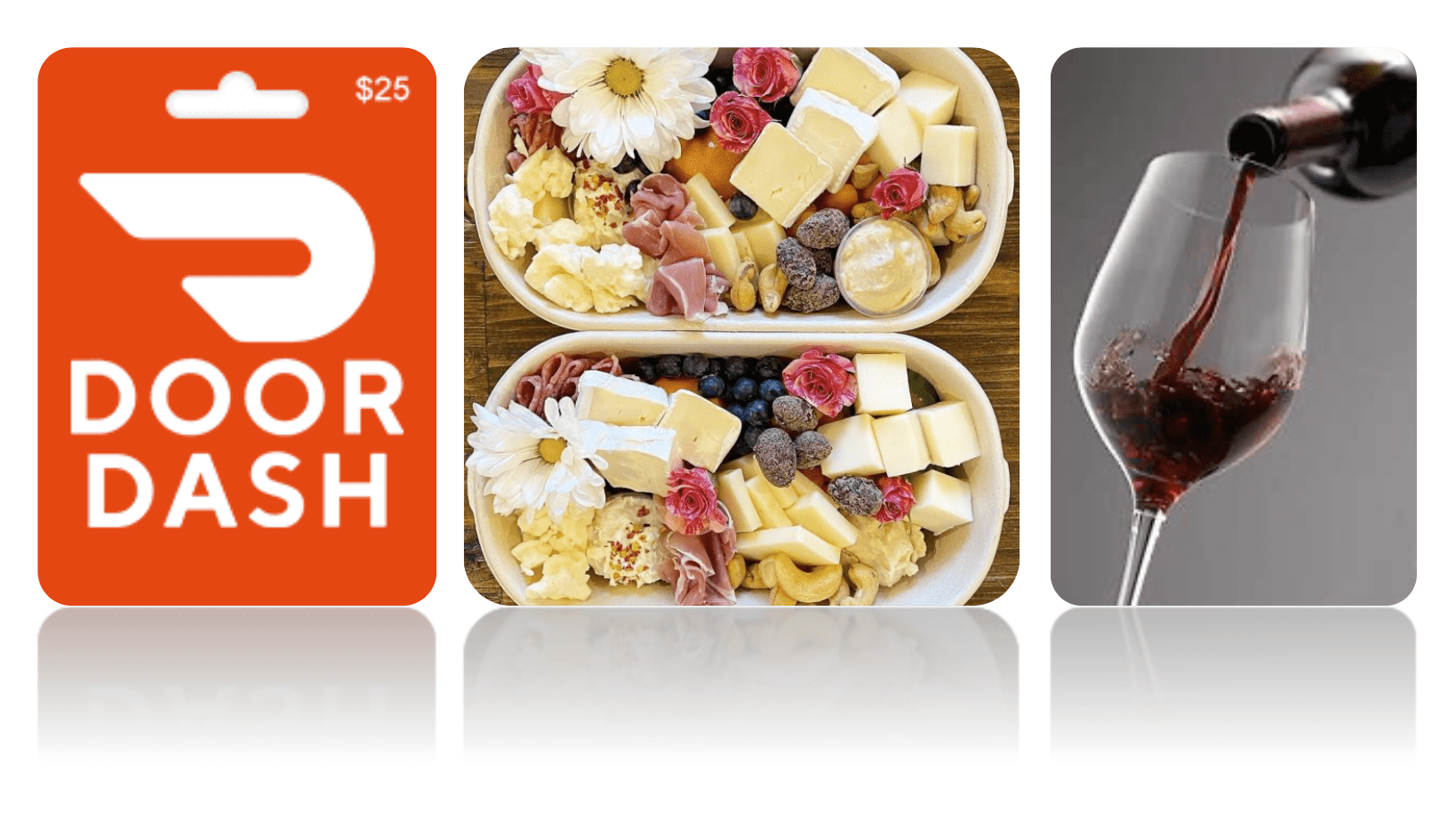 Special deliveries to build remote work culture: Door dash logo, charcuterie box, glass of wine